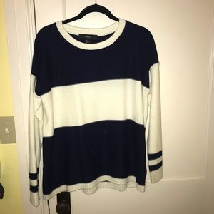 White and Navy Striped Forever 21 Sweater